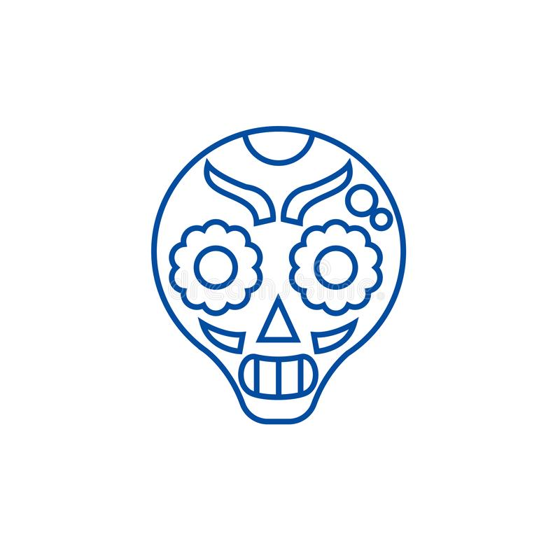 Линия концепция Catrina значка Символ вектора Catrina плоский, знак, иллюстрация плана бесплатная иллюстрация