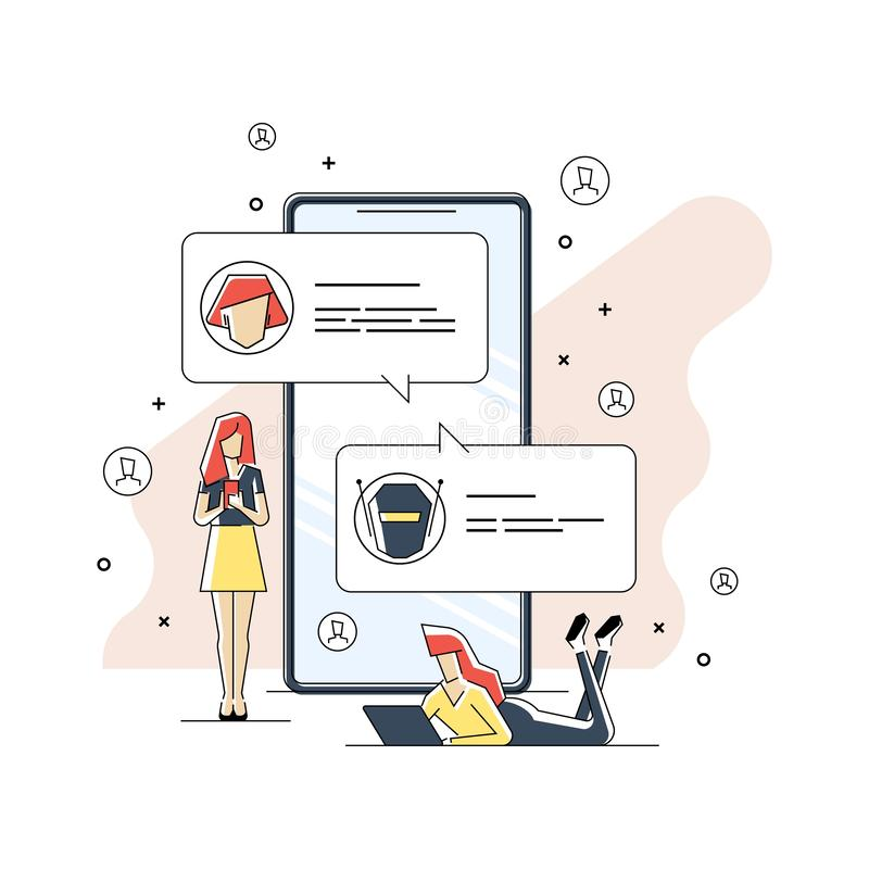 Линия концепция Chatbot плоская значка Человек беседуя со средством болтовни на смартфоне Разговаривать потребителя со средством  иллюстрация штока