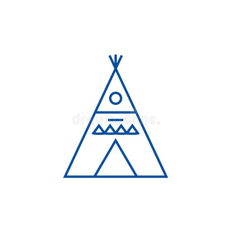 Линия концепция illustation вигвама значка Символ вектора illustation вигвама плоский, знак, иллюстрация плана бесплатная иллюстрация