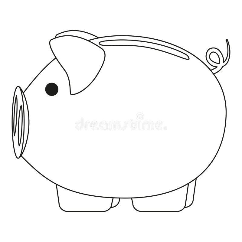 Линия копилка искусства черно-белая розовая иллюстрация штока