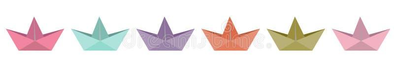 Линия корабля бумаги Origami установленная Плоский дизайн изолировано Белая предпосылка иллюстрация вектора
