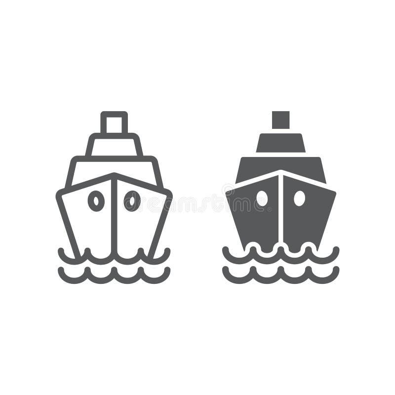 Линия корабля и значок глифа, круиз и ветрило, знак шлюпки, векторные графики, линейная картина на белой предпосылке бесплатная иллюстрация