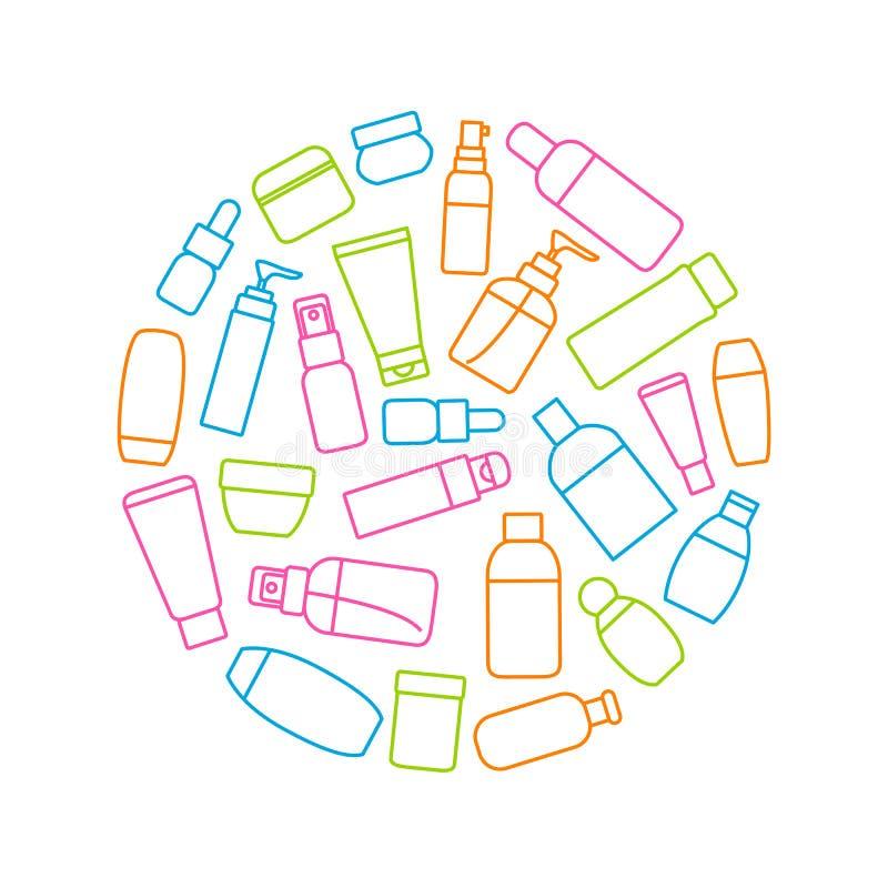 Линия косметических знаков бутылок тонкая вокруг объявления шаблона дизайна вектор бесплатная иллюстрация