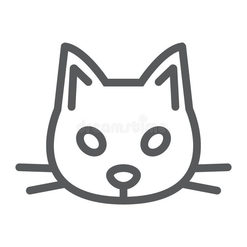 Линия кота значок, животное и зоопарк, знак любимчика иллюстрация вектора
