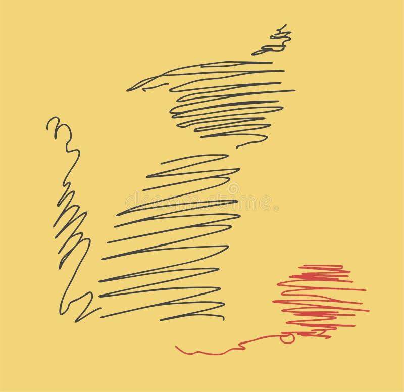 Линия кот с красным шариком шерстей стоковые изображения rf