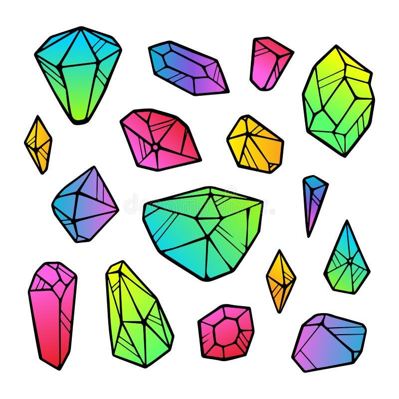 Линия кристаллы вектора градиента цвета неоновые изолированные на белой предпосылке иллюстрация вектора
