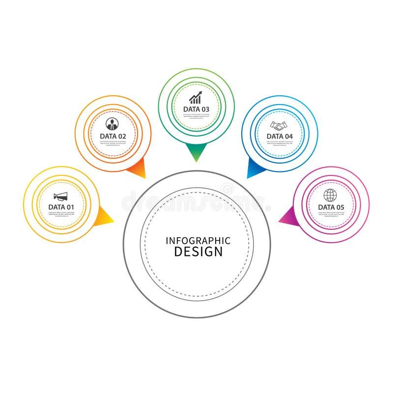 Линия круга Infographics тонкая с шаблоном 5 данных Illus вектора иллюстрация штока