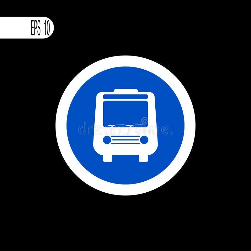 Линия круглого знака белая тонкая Знак автобуса, значок - иллюстрация вектора бесплатная иллюстрация