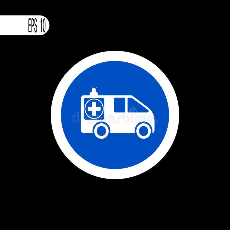 Линия круглого знака белая тонкая Знак машины скорой помощи, значок - иллюстрация вектора бесплатная иллюстрация