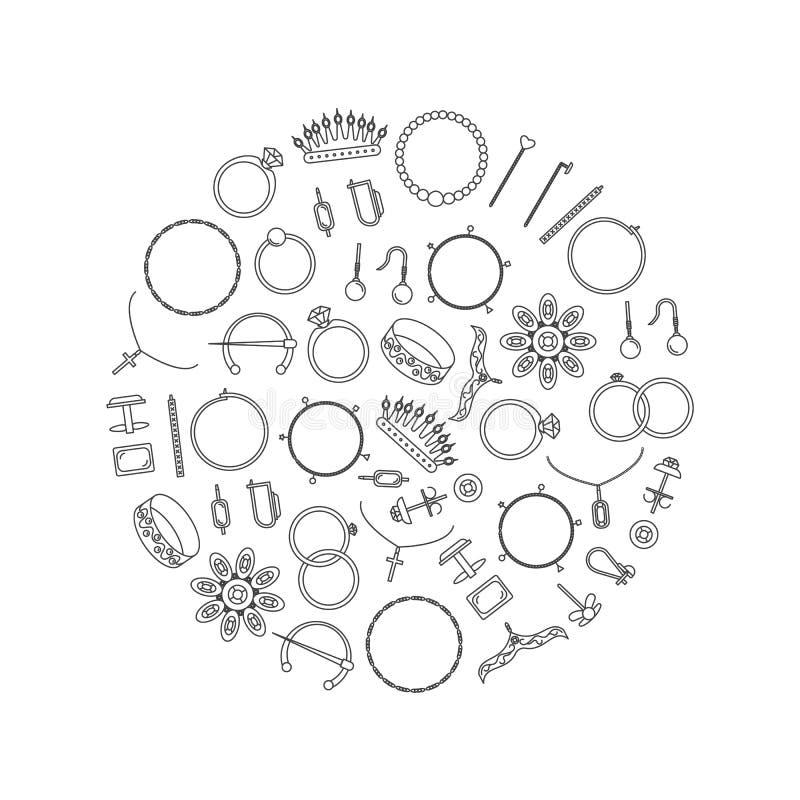 Линия круглый шаблон ювелирных изделий черная тонкая дизайна вектор иллюстрация штока