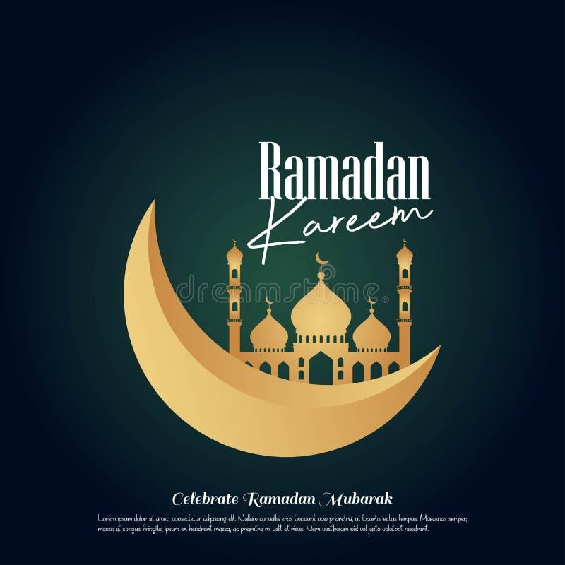 Линия купол дизайна Рамазан Kareem исламская приветствуя мечети с арабским фонариком и каллиграфией картины бесплатная иллюстрация