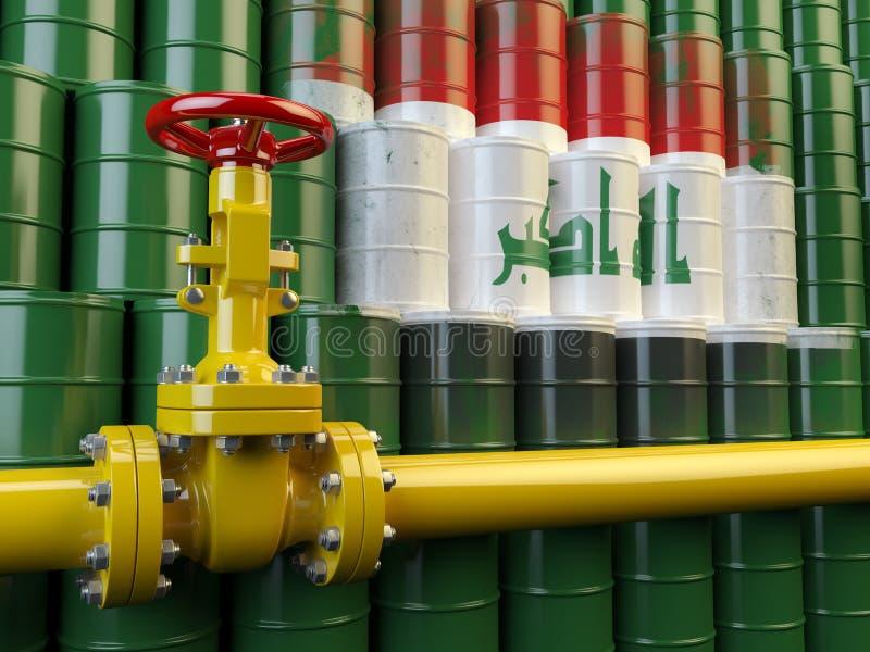 Линия клапан трубы масла перед флагом Ирака на barr масла иллюстрация вектора
