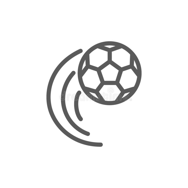 Линия летая значок футбольного мяча иллюстрация штока