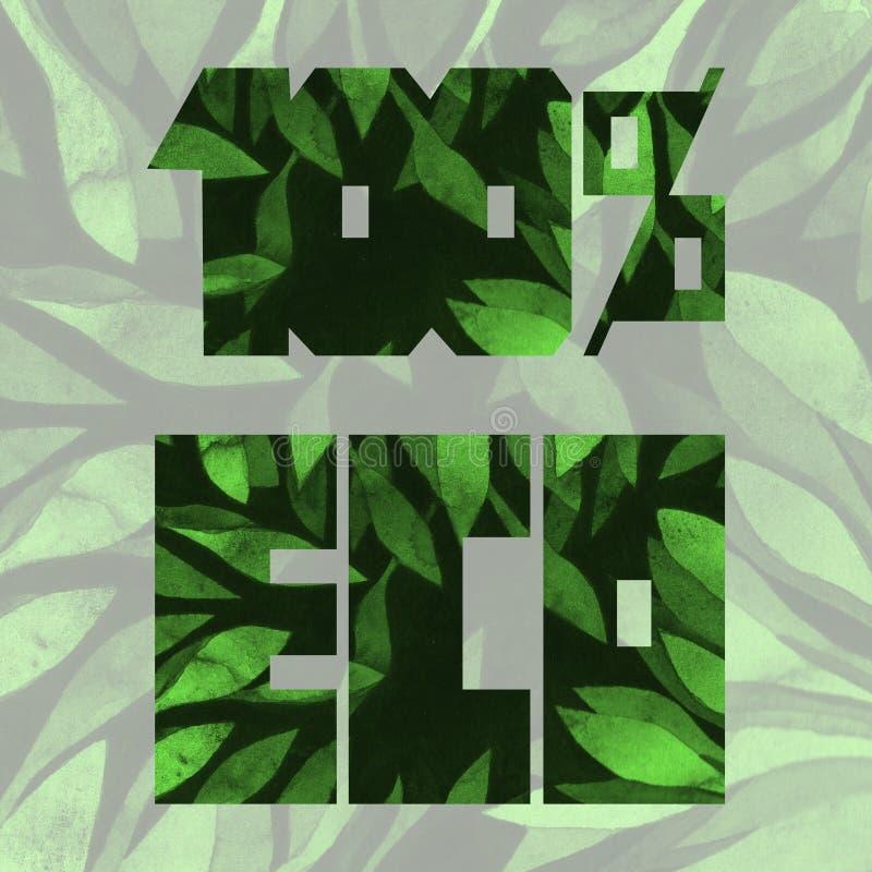 Линия литерность 100% ЭКО- зеленая прямая Красочный текстурированный текст для карт, плакатов, знамен, печатей, логотипов иллюстрация штока