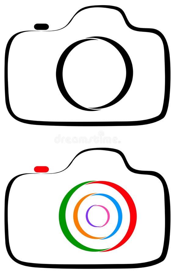 Линия логотип камеры фотографии искусства иллюстрация штока