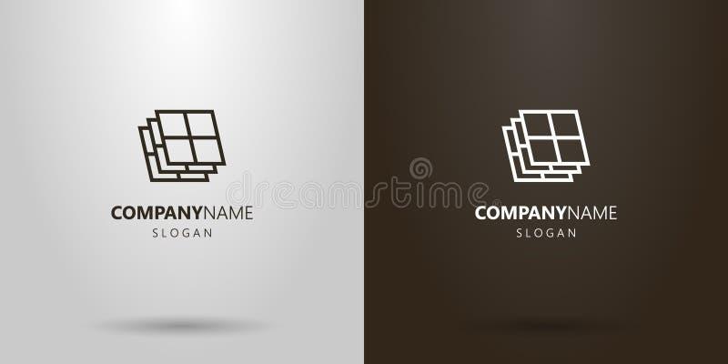 Линия логотип простого вектора геометрическая искусства окон стоковая фотография