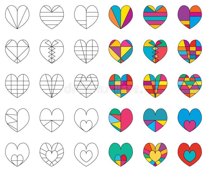 Линия любов цвет много установила белую предпосылку бесплатная иллюстрация