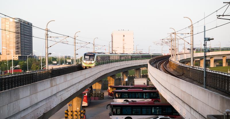 Линия 3 метро Нанкина, Китай стоковое фото rf
