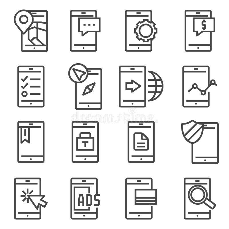 Линия мобильные значки вектора приложений установила на белую предпосылку бесплатная иллюстрация