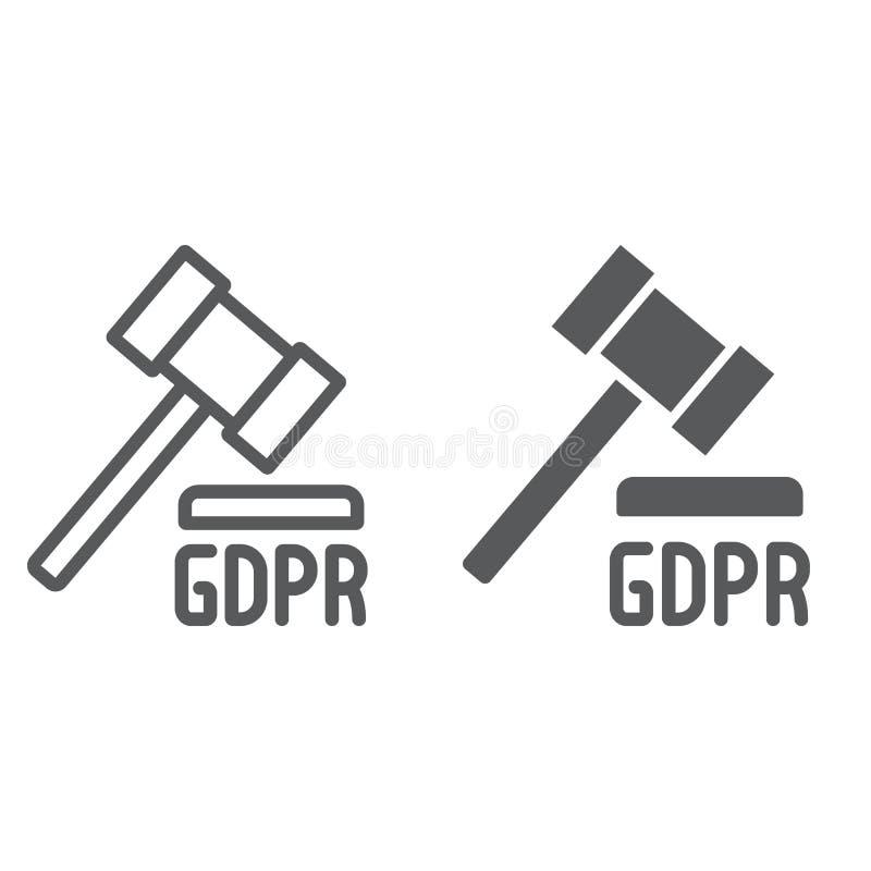 Линия молотка GDPR и значок глифа, личный и принуждение, знак закона, векторные графики, линейная картина на белом иллюстрация штока
