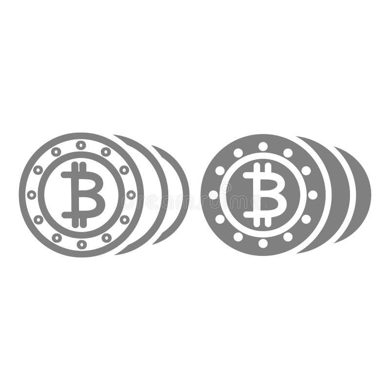 Линия монеток и значок глифа Иллюстрация вектора Cryptocurrency изолированная на белизне Конструированный дизайн стиля плана Bitc бесплатная иллюстрация