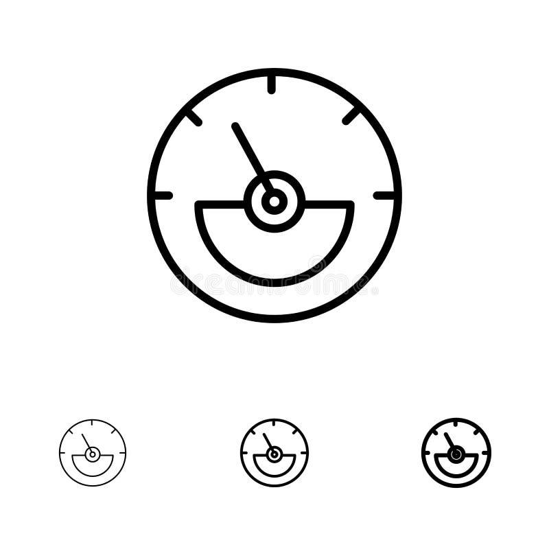 Линия набор ампера, метра ампера, электрических, энергии смелая и тонкая черная значка иллюстрация вектора