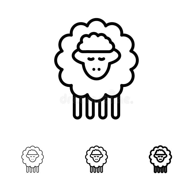 Линия набор баранины, Ram, овец, весны смелая и тонкая черная значка иллюстрация вектора