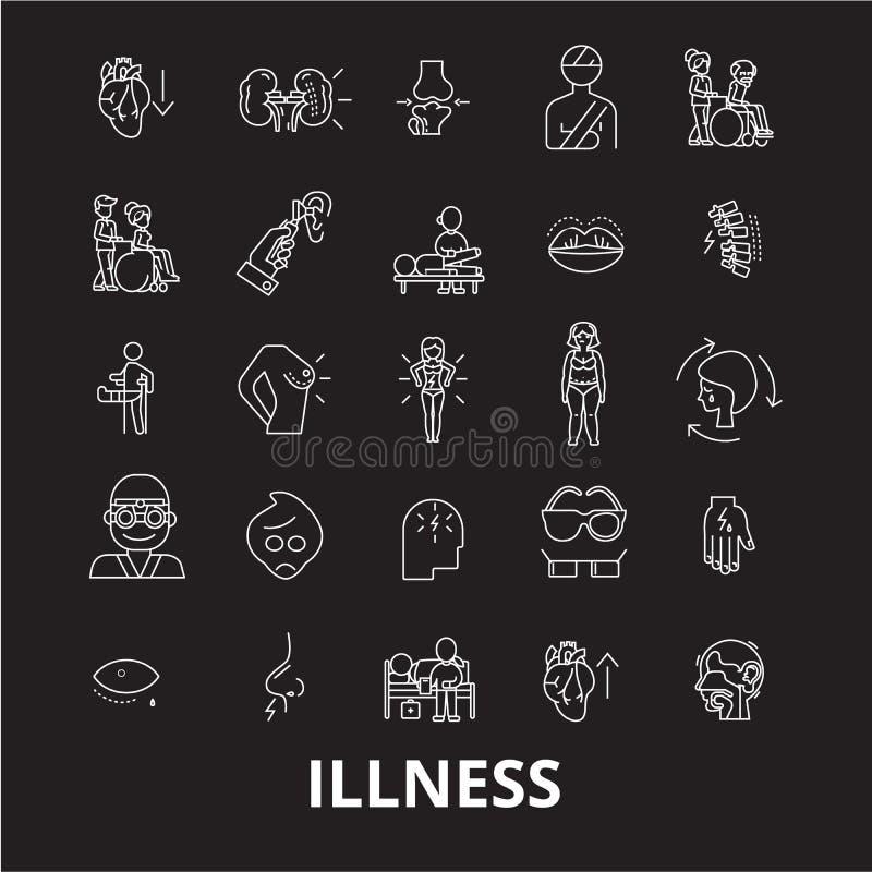 Линия набор болезни editable вектора значков на черной предпосылке Иллюстрации плана болезни белые, знаки, символы иллюстрация штока