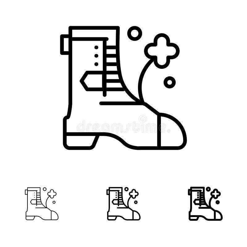 Линия набор ботинок, ботинка, Ирландии смелая и тонкая черная значка бесплатная иллюстрация