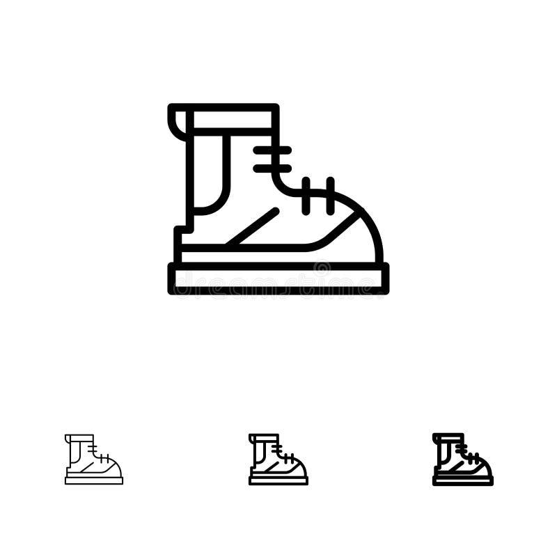 Линия набор ботинок, Hiker, пешего туризма, следа, ботинка смелая и тонкая черная значка иллюстрация штока