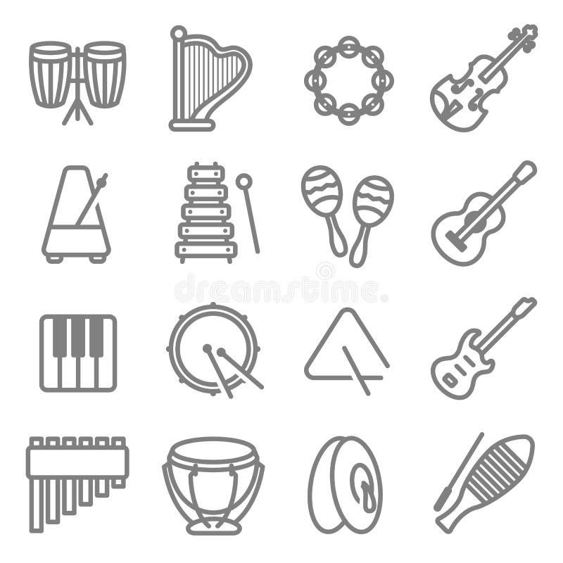 Линия набор вектора аппаратуры музыки значка Содержит такие значки как барабанчик, треугольник, гитара, клавиатура, метроном, там иллюстрация вектора