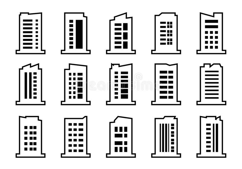 Линия набор вектора значков компании, черное строя собрание на белой предпосылке, изолированной иллюстрации дела иллюстрация штока
