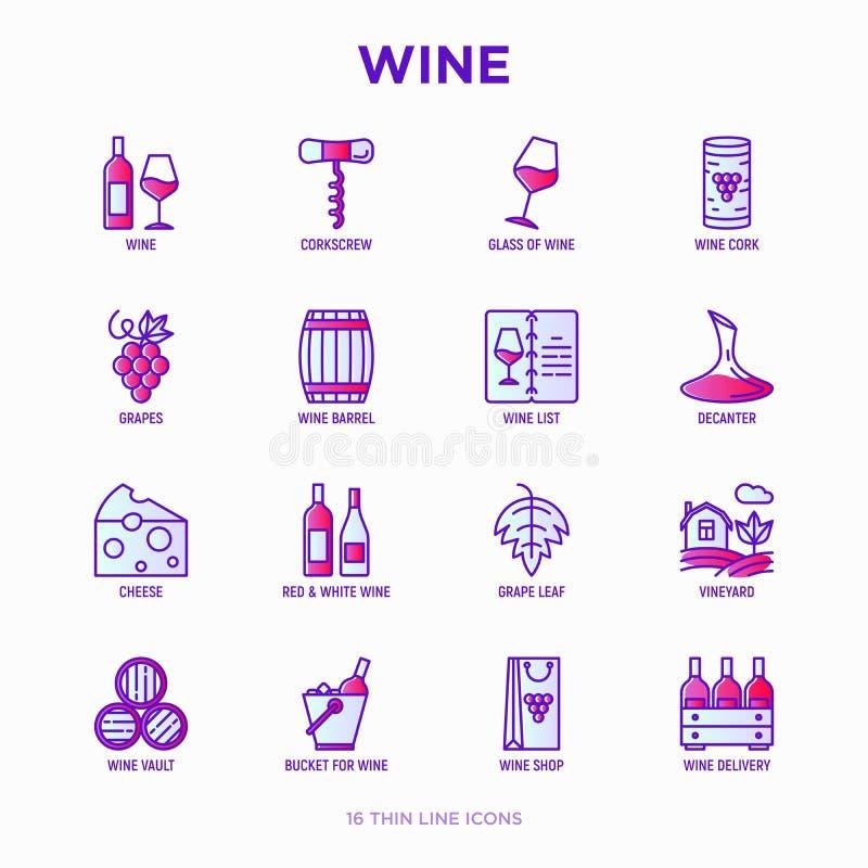 Линия набор вина тонкая значков: штопор, бокал, пробочка, виноградины, бочонок, список, графинчик, сыр, виноградник, ведро, магаз бесплатная иллюстрация