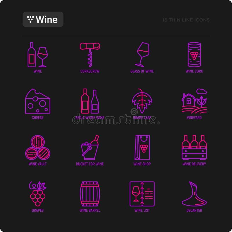 Линия набор вина тонкая значков: штопор, бокал, пробочка, виноградины, бочонок, список, графинчик, сыр, виноградник, ведро, магаз иллюстрация вектора