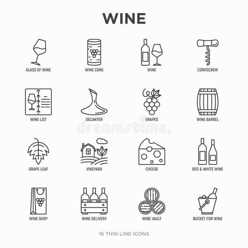 Линия набор вина тонкая значков: штопор, бокал, пробочка, виноградины, бочонок, список, графинчик, сыр, виноградник, ведро, магаз иллюстрация штока