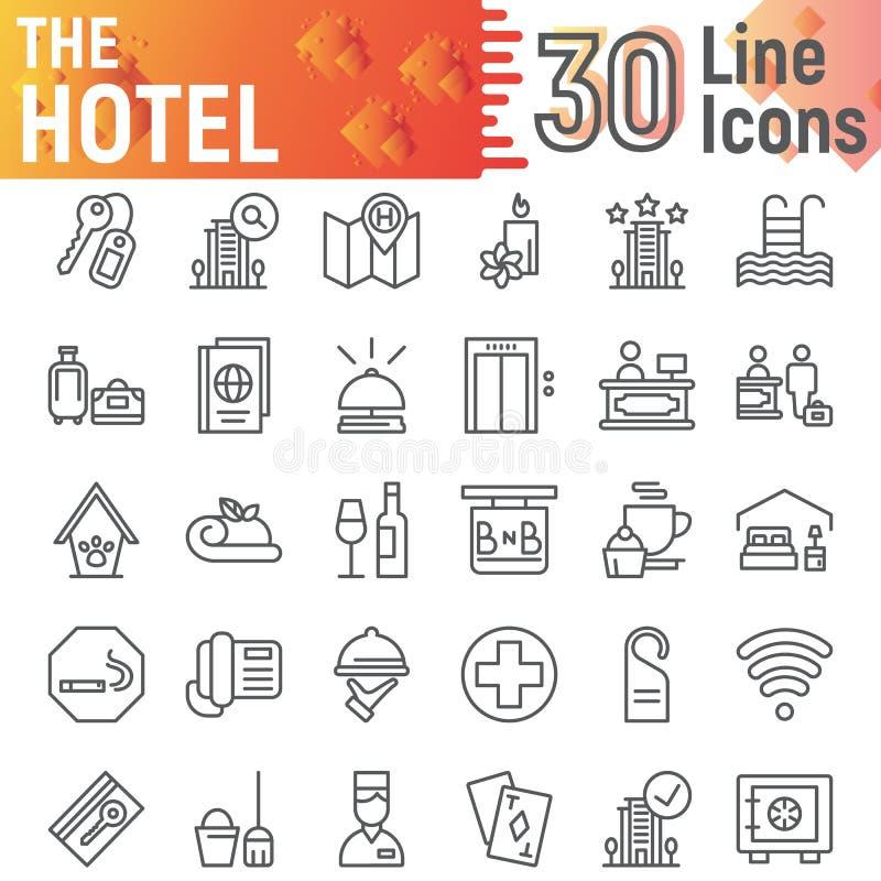 Линия набор гостиницы значка, символы собрание обслуживания, эскизы вектора, иллюстрации логотипа, пиктограммы знаков общежития л бесплатная иллюстрация
