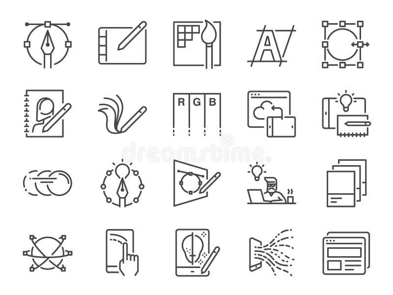 Линия набор дизайна цифров значка Включенные значки как график-дизайн иллюстрация штока