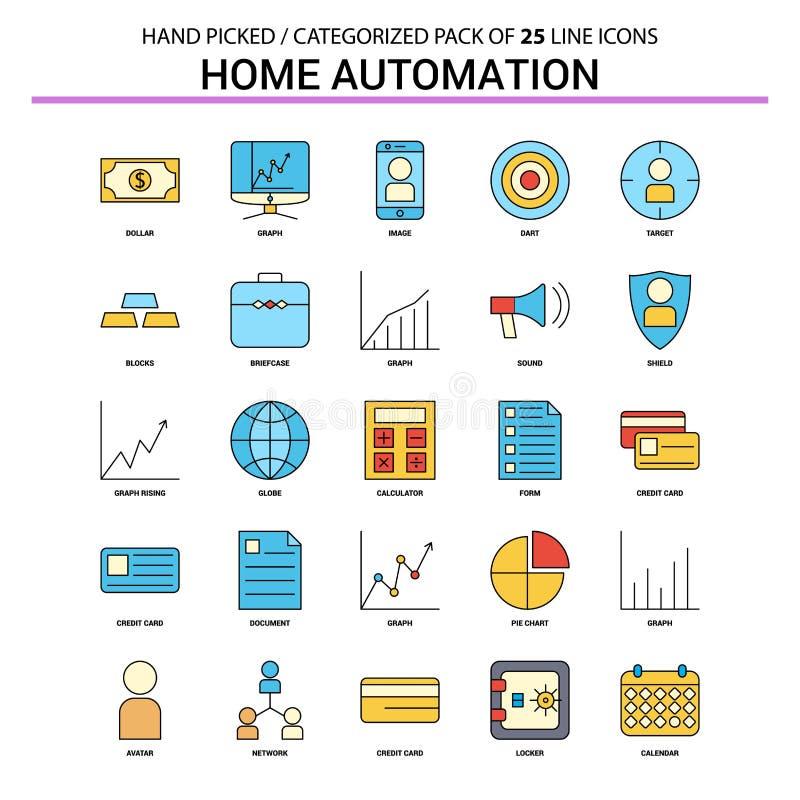 Линия набор домашней автоматизации плоская значка - значки Desi концепции дела иллюстрация штока