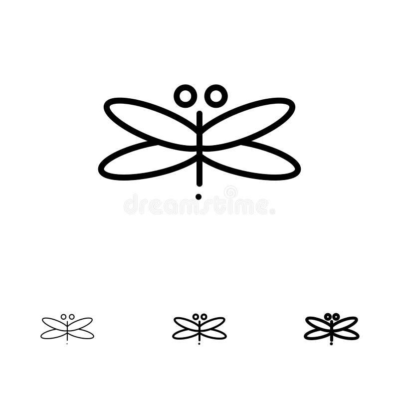 Линия набор дракона, Dragonfly, драконов, мухы, весны смелая и тонкая черная значка бесплатная иллюстрация
