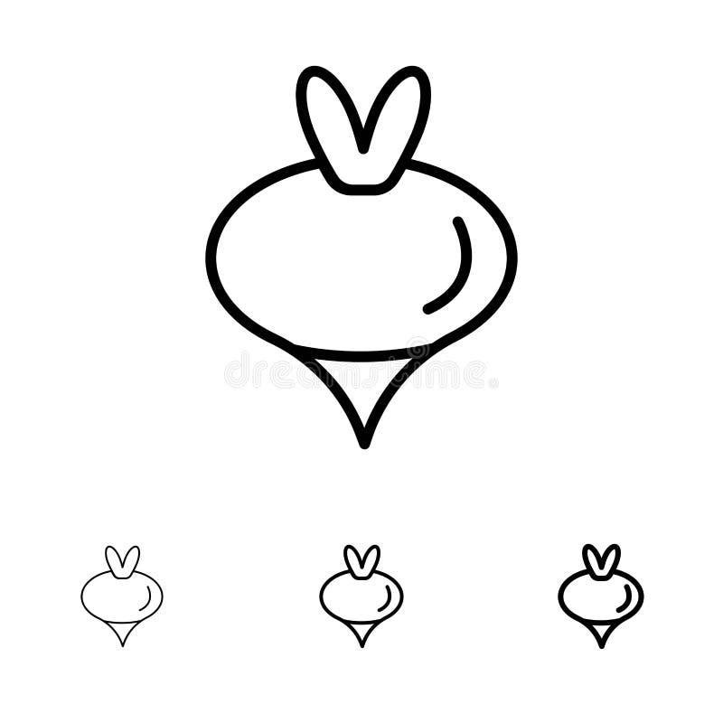 Линия набор еды, турнепса, овоща, весны смелая и тонкая черная значка бесплатная иллюстрация