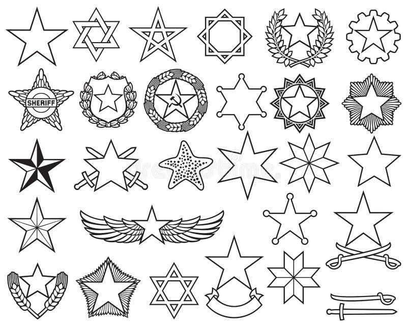 Линия набор звезд тонкая значков иллюстрация вектора