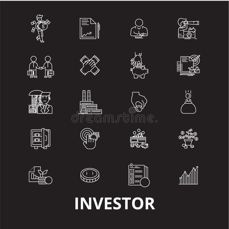 Линия набор инвестора editable вектора значков на черной предпосылке Иллюстрации плана инвестора белые, знаки, символы иллюстрация вектора