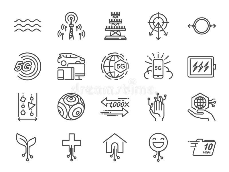 линия набор интернета 5G значка Включенные значки как IOT, интернет вещей, ширина полосы частот, сигнал, приборы и больше бесплатная иллюстрация
