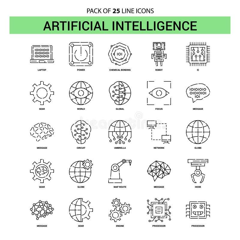 Линия набор искусственного интеллекта значка - 25 брошенный стиль плана иллюстрация штока
