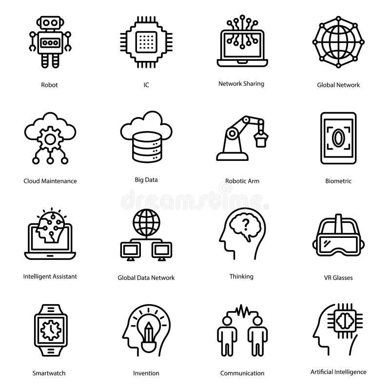 Линия набор искусственного интеллекта значков бесплатная иллюстрация