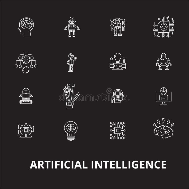 Линия набор искусственного интеллекта editable вектора значков на черной предпосылке План искусственного интеллекта белый иллюстрация штока