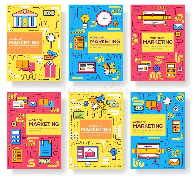 Линия набор карт брошюры вектора дела тонкая Выходя на рынок шаблон flyear, журналы, плакаты, обложка книги, знамена бесплатная иллюстрация