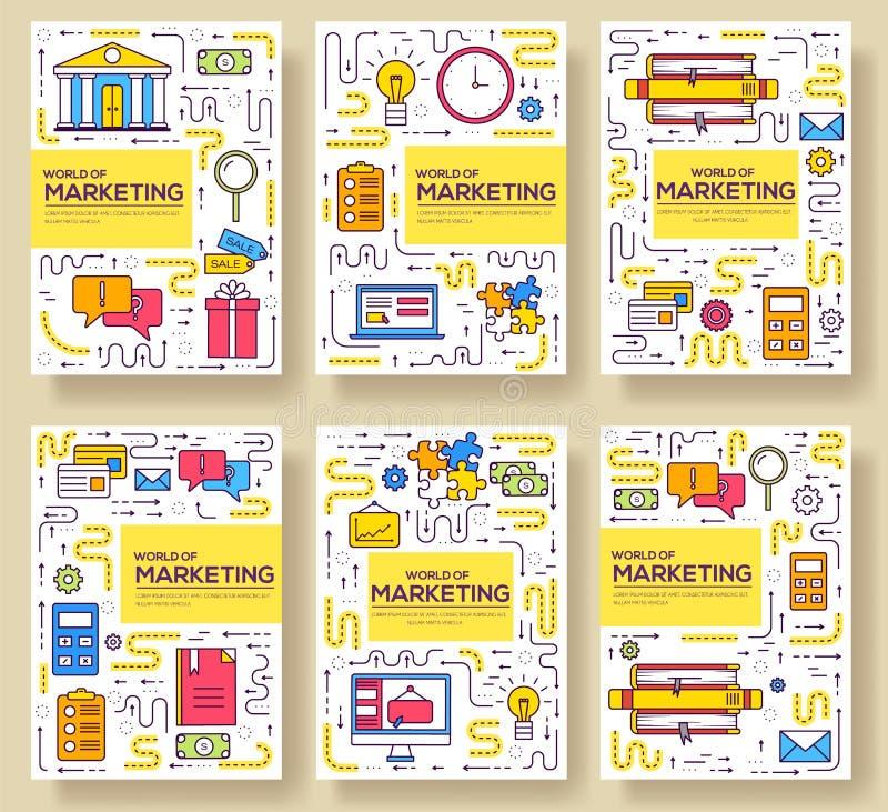 Линия набор карт брошюры вектора дела тонкая Выходя на рынок шаблон flyear, журналы, плакаты, обложка книги, знамена иллюстрация вектора