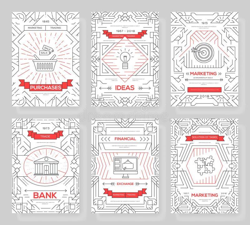 Линия набор карт брошюры вектора дела тонкая Выходя на рынок шаблон flyear, журналы, плакаты, обложка книги, знамена иллюстрация штока
