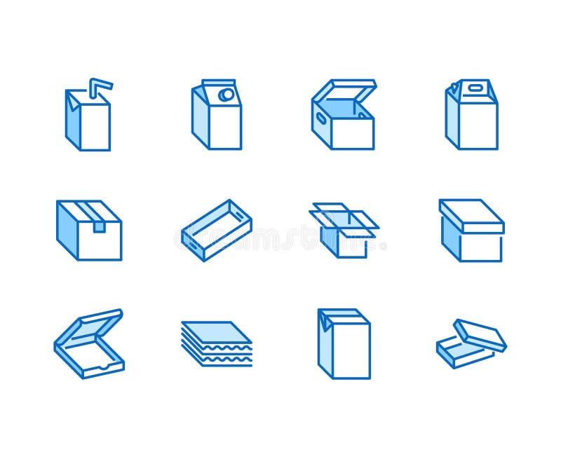 Линия набор коробки плоская значков Картонная коробка, сок, пакет молока, пицца упаковывая, иллюстрация вектора коробок доставки  бесплатная иллюстрация